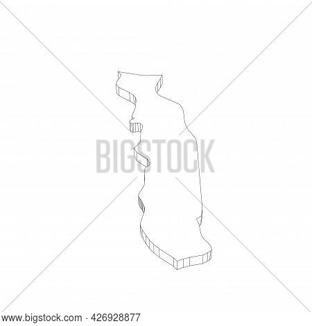 Togo - 3d Black Thin Outline Silhouette Map Of Country Area. Simple Flat Vector Illustration.
