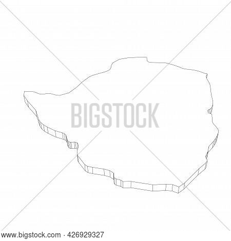 Zimbabwe - 3d Black Thin Outline Silhouette Map Of Country Area. Simple Flat Vector Illustration.