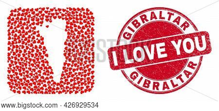 Vector Mosaic Gibraltar Map Of Love Heart Items And Grunge Love Stamp. Mosaic Geographic Gibraltar M
