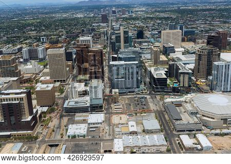 Aerial View Shopping District Center And Parking Lot In Of Downtown Phoenix Arizona Us