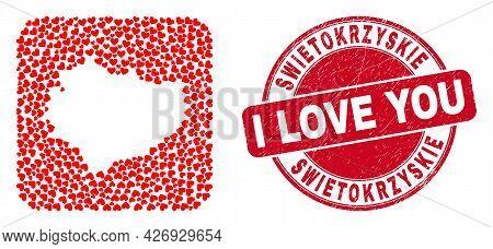 Vector Collage Swietokrzyskie Voivodeship Map Of Valentine Heart Elements And Grunge Love Stamp.