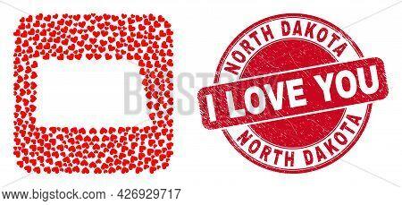 Vector Collage North Dakota State Map Of Valentine Heart Elements And Grunge Love Stamp. Collage Geo