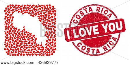 Vector Collage Costa Rica Map Of Love Heart Items And Grunge Love Seal. Collage Geographic Costa Ric
