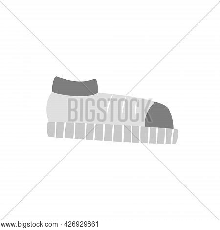 Simple Isolated Flat Icon Of Light Gray Sneakers. Picture Of Shoes For Children's Textbook, Alphabet