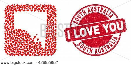 Vector Mosaic South Australia Map Of Love Heart Elements And Grunge Love Stamp. Mosaic Geographic So