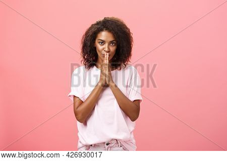Creative And Smart Stylish Attractive African American Woman With Curly Hairstyle Having Great Plan