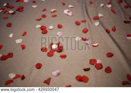 Romantic Room Setting With Rose Petals Filled Bed And Pillows Sensual Silk, Honeymoon, Valentines Da