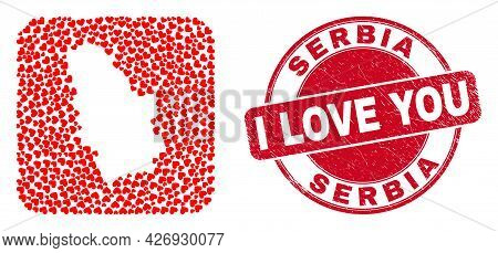 Vector Collage Serbia Map Of Lovely Heart Elements And Grunge Love Seal. Collage Geographic Serbia M