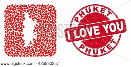 Vector Collage Phuket Map Of Lovely Heart Items And Grunge Love Seal Stamp. Collage Geographic Phuke