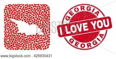 Vector Mosaic Georgia Map Of Valentine Heart Elements And Grunge Love Seal. Mosaic Geographic Georgi