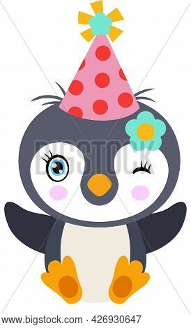 Scalable Vectorial Representing A Cute Penguin With Hat Party, Element For Design, Illustration Isol