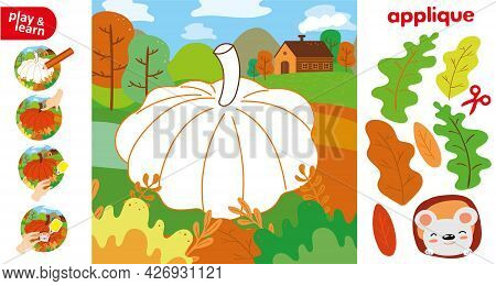 Cut Glue Pumpkin In Garden Children Paper Application Game