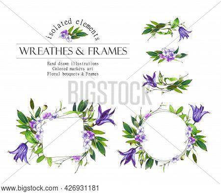 Purple Floral Round Frame. Clematis Wreath, Bouquets