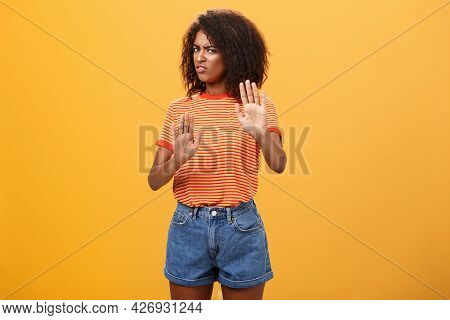 No I Refuse. Intense And Displeased Smart African-american Female Rejecting Bad Offer Pulling Raised