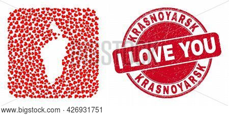 Vector Mosaic Krasnoyarskiy Kray Map Of Valentine Heart Items And Grunge Love Seal. Mosaic Geographi