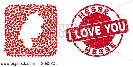 Vector Mosaic Hesse Land Map Of Love Heart Items And Grunge Love Badge. Collage Geographic Hesse Lan