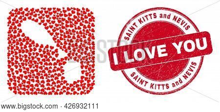 Vector Collage Saint Kitts And Nevis Map Of Love Heart Items And Grunge Love Stamp. Collage Geograph