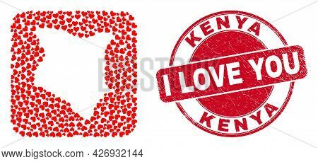 Vector Mosaic Kenya Map Of Love Heart Elements And Grunge Love Seal Stamp. Collage Geographic Kenya