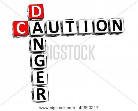 3D Caution Danger Crossword On White Background