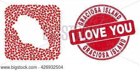 Vector Mosaic Graciosa Island Map Of Love Heart Items And Grunge Love Seal. Mosaic Geographic Gracio