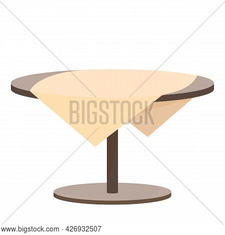 Wooden Round Table With Tablecloth In Cartoon Style Isolated On White Background. Backyard, Outdoor