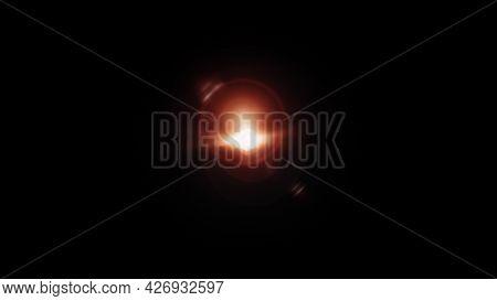 3d Illustration Lens Flare. Light Over Black Background. Optical Flare 3d Rendering Effect Element T