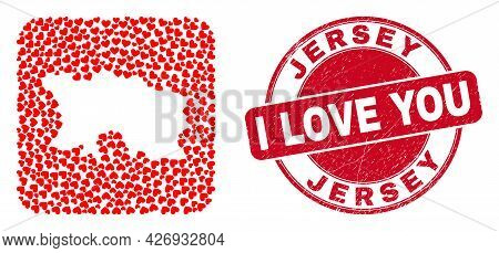 Vector Mosaic Jersey Island Map Of Lovely Heart Elements And Grunge Love Seal. Mosaic Geographic Jer