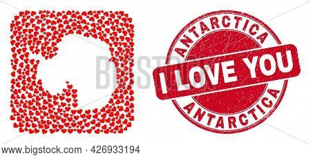 Vector Collage Antarctica Continent Map Of Love Heart Elements And Grunge Love Badge. Collage Geogra