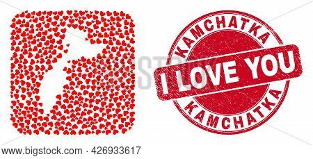 Vector Mosaic Kamchatka Map Of Lovely Heart Elements And Grunge Love Seal Stamp. Mosaic Geographic K