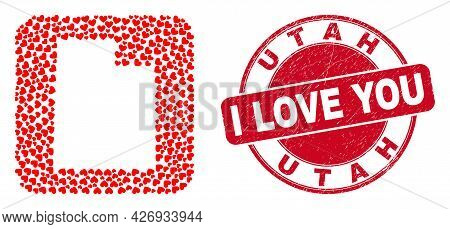 Vector Collage Utah State Map Of Lovely Heart Elements And Grunge Love Seal Stamp. Collage Geographi