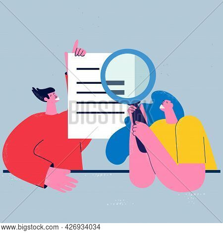 Business Report Audit, Data Evaluation, Document Inspection, Business Team Office Work Flat Vector I