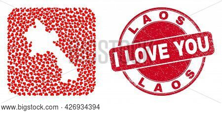 Vector Mosaic Laos Map Of Love Heart Elements And Grunge Love Seal. Collage Geographic Laos Map Cons