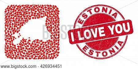 Vector Collage Estonia Map Of Love Heart Items And Grunge Love Seal Stamp. Collage Geographic Estoni