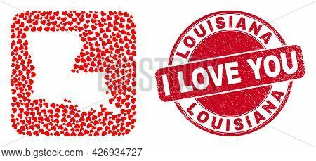Vector Collage Louisiana State Map Of Love Heart Elements And Grunge Love Seal. Collage Geographic L