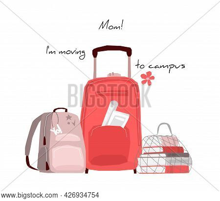 Luggage Bag On Wheels, Textbooks In A Mesh Bag