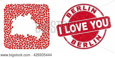 Vector Mosaic Berlin City Map Of Valentine Heart Items And Grunge Love Stamp. Mosaic Geographic Berl