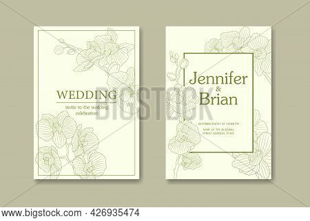 Minimal Floral Wedding Invitation Card Template Design, Vintage Magnolia Line Art Ink Drawing. Vecto