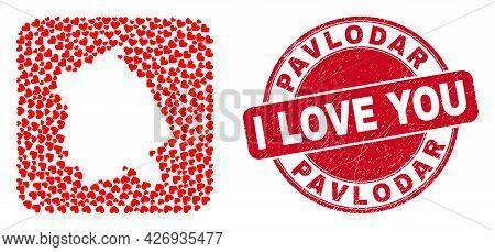 Vector Mosaic Pavlodar Region Map Of Valentine Heart Items And Grunge Love Badge. Mosaic Geographic