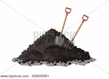 Hayfork And Shovel In A Pile Of Ground. Transformation Of Food Waste Into Fertile Soil. Vector Illus