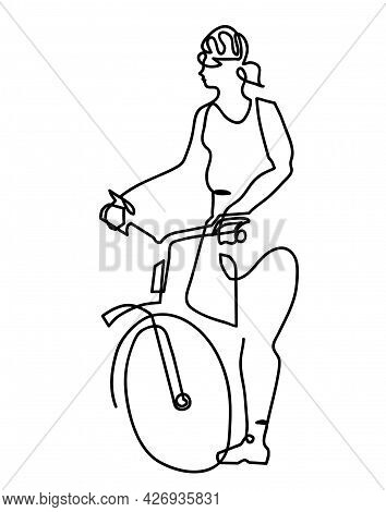 One Line Drawing Of Woman Helmet Activity Bicycle. One Continuous Line Drawing Of Beautiful Young Fe