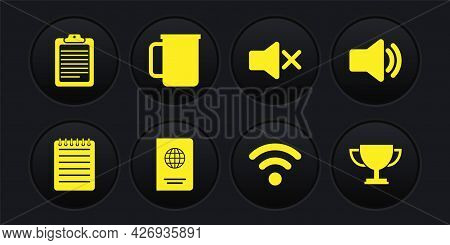 Set Notebook, Speaker Volume, Passport, Wi-fi Wireless Network, Mute And Coffee Cup Icon. Vector