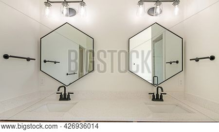 Pano Double Vanity Sink With Wooden Cabinet And Matching Fixtures