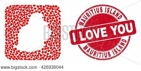 Vector Collage Mauritius Island Map Of Lovely Heart Items And Grunge Love Stamp. Collage Geographic
