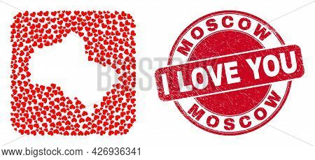 Vector Mosaic Moscow Region Map Of Lovely Heart Items And Grunge Love Seal Stamp. Mosaic Geographic