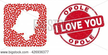 Vector Collage Opole Voivodeship Map Of Valentine Heart Elements And Grunge Love Stamp. Collage Geog