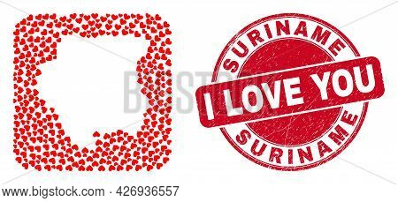Vector Mosaic Suriname Map Of Valentine Heart Items And Grunge Love Seal. Mosaic Geographic Suriname