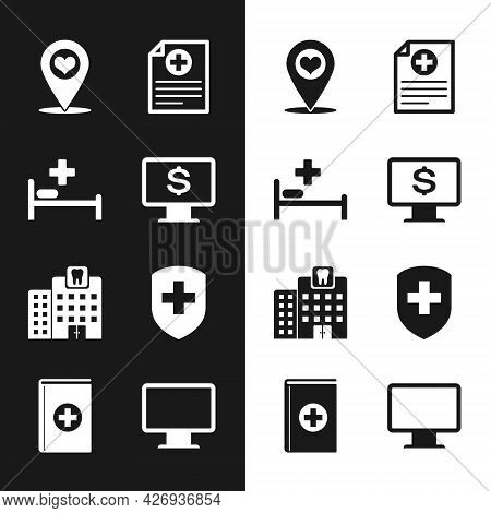 Set Monitor With Dollar, Hospital Bed, Map Pointer Heart, Clinical Record, Dental Clinic And Medical