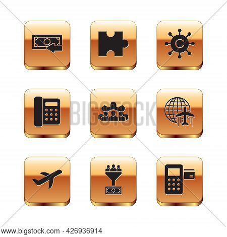 Set Cash Back, Plane, Lead Management, Project Team Base, Telephone And Copywriting Network Icon. Ve