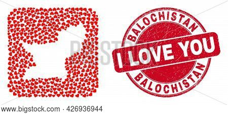 Vector Collage Balochistan Province Map Of Love Heart Elements And Grunge Love Seal. Mosaic Geograph