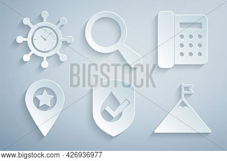 Set Waterproof, Telephone, Location With Star, Mountains And Flag, Magnifying Glass And Clock Gear I